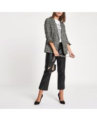 River Island - Sequin Check Print Ruched Sleeve Blazer - Lyst