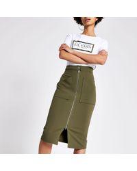 5b59028b5 River Island Beige Faux Suede Pencil Skirt in Brown - Lyst