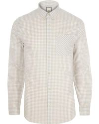 River Island - Grey Gingham Check Slim Fit Long Sleeve Shirt Grey Gingham Check Slim Fit Long Sleeve Shirt - Lyst