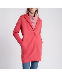 River Island - Pink Scuba Tailored Coat - Lyst