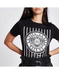 River Island - Black 'la Vita' Print T-shirt - Lyst