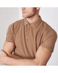 River Island - Tan Waffle Slim Fit Polo Shirt - Lyst