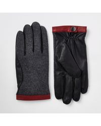 River Island Mixed Fabric Driving Gloves