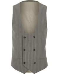 River Island - Grey Stripe Double Breasted Suit Waistcoat Grey Stripe Double Breasted Suit Waistcoat - Lyst