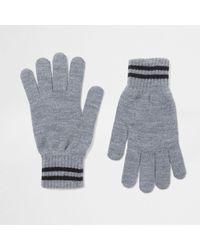 River Island - Grey Stripe Cuff Knit Gloves Grey Stripe Cuff Knit Gloves - Lyst