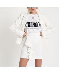 River Island - White Frill Front Boucle Mini Skirt - Lyst