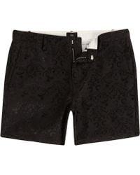 River Island - Black Jacquard Slim Fit Chino Shorts - Lyst