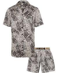 River Island - Snake Print Satin Pyjama Set - Lyst