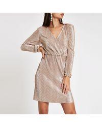 River Island - Light Pink Metallic Plisse Wrap Mini Dress - Lyst