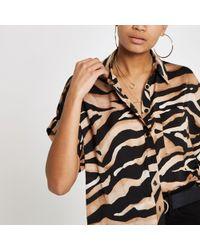 River Island - Tiger Print Short Sleeve Shirt - Lyst