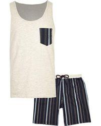 River Island - Ecru Aztec Shorts Pajama Set - Lyst