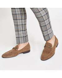 River Island Tan Faux Suede Snaffle Loafers