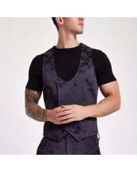 River Island - Purple Floral Double-breasted Waistcoat - Lyst