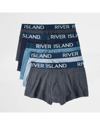 River Island | Big And Tall Blue Hipster Boxers Multipack | Lyst