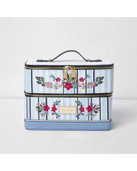River Island - Blue Stripe Floral Embroidered Vanity Case - Lyst
