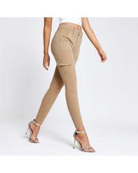 River Island - Beige Amelie Super Skinny Utility Jeans - Lyst
