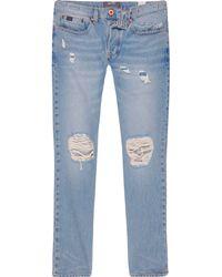 River Island - Light Wash Ripped Sid Skinny Warp Jeans - Lyst