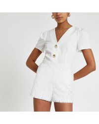 River Island - White Lace Shorts - Lyst