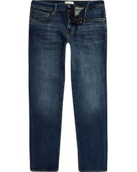 River Island - Selected Homme Leon Blue Slim Fit Jeans - Lyst
