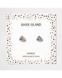 River Island - Blue Gem March Birthstone Stud Earrings - Lyst