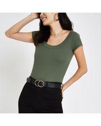 River Island - Khaki Green Ribbed Scoop Neck T-shirt - Lyst