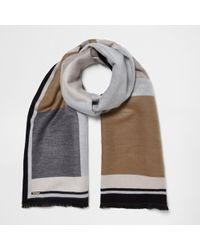 River Island - Cream And Grey Blocked Blanket Scarf - Lyst