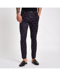 River Island - Purple Floral Skinny Fit Suit Trousers - Lyst