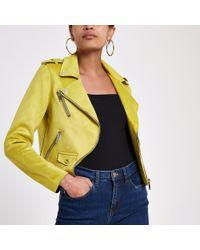 River Island - Yellow Faux Suede Biker Jacket - Lyst