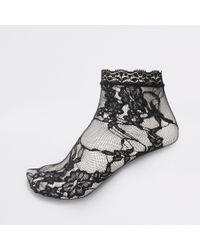 River Island - Black Lace Ankle Socks - Lyst