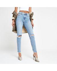 River Island - Mid Original Skinny Ripped Jeans - Lyst