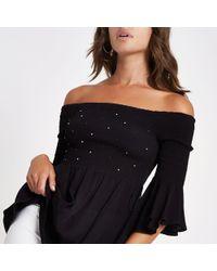 79c67cff7487c Lyst - River Island Black Floral Embroidered Cold Shoulder Top in Black