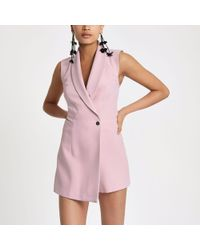 River Island - Light Pink Tux Sleeveless Wrap Playsuit - Lyst
