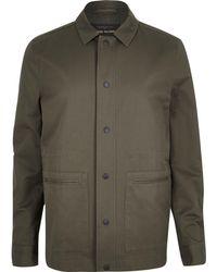 River Island - Khaki Green Casual Minimal Worker Jacket - Lyst