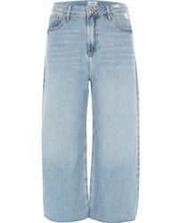 River Island - Mid Blue Alexa Cropped Wide Leg Jeans Mid Blue Alexa Cropped Wide Leg Jeans - Lyst