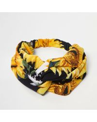 River Island - Yellow Sunflower Knot Headband - Lyst