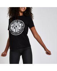 River Island - Rhinestone Embellished 'paris' T-shirt - Lyst