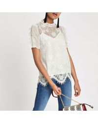 River Island - White Lace Beaded High Neck Top - Lyst