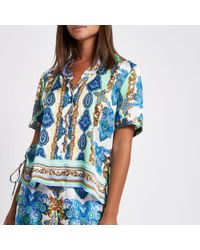 River Island - Green Mixed Print Lace Pyjama Shirt - Lyst