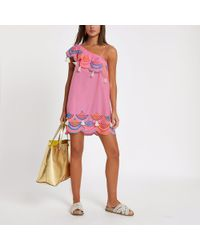 River Island - Pink One Shoulder Broderie Beach Dress - Lyst