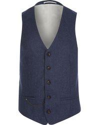 River Island - Navy Wool-blend Slim Suit Vest - Lyst
