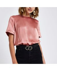 River Island - Zip Back Loose Fit T-shirt - Lyst