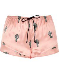 River Island - Pink Cactus Print Pyjama Shorts - Lyst