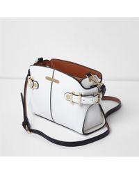 River Island - White Tab Side Cross Body Bag - Lyst