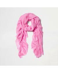 River Island - Pink Stripe Jacquard Frill Scarf - Lyst