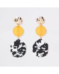 River Island - Mono Print Circle Drop Earrings - Lyst