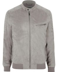 River Island   Light Grey Faux Suede Racer Neck Jacket Light Grey Faux Suede Racer Neck Jacket   Lyst