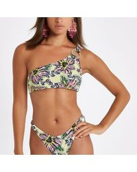 River Island - Yellow Floral One Shoulder Bikini Top - Lyst