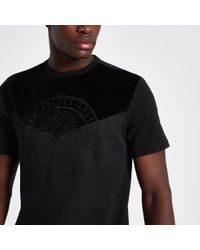 River Island - Black Embroidered Slim Fit T-shirt - Lyst