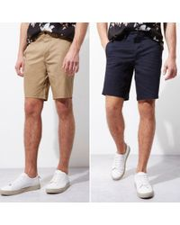 River Island - Navy And Camel Chino Shorts Two Pack - Lyst