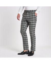 River Island - Check Skinny Smart Pants - Lyst